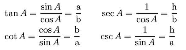 Công thức lượng giác tam giác vuông